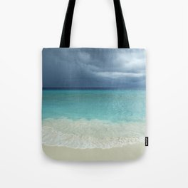 Tropical beach and strom clouds on Little Curaçao, Netherlands Antilles Tote Bag