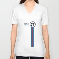 f1 V-neck T-shirts featuring F1 2015 - #77 Bottas by MS80 Design
