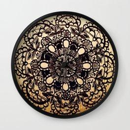 Black Mandala on Gradated Wood Wall Clock