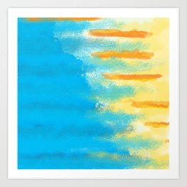 Bluish Blues 1 - Blues Yellows Greens and Oranges Abstract Beachy Bright Art Print