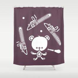 Cute Teddy Juggling 2 Balls, 3 Chainsaws and Club Shower Curtain