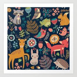 Blue Woodland Critters Pattern Kunstdrucke