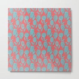 Protea on coral pink Metal Print