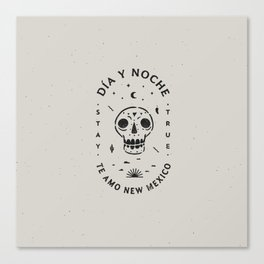 """Te Amo New Mexico"" sugar skull badge (day) Canvas Print"