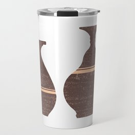 Greek Pottery 26 - Alabastron - Terracotta Series - Modern, Contemporary, Minimal Abstract - Brown Travel Mug
