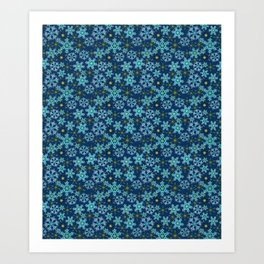 Blue snow , Christmas Art Print