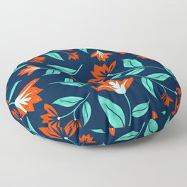 Japanese Floral Print - Red and Navy Blue Floor Pillow