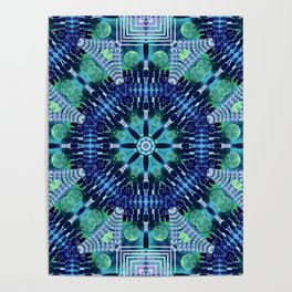 Blue and Green Kaleidoscope Poster