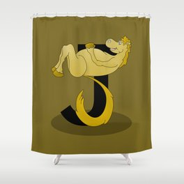 Pony Monogram Letter J Shower Curtain