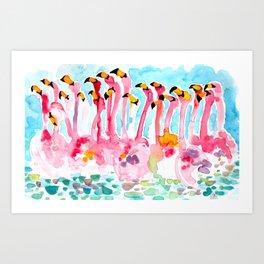 Welcome to Miami - Flamingos Illustration Art Print