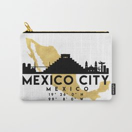 MEXICO CITY MEXICO SILHOUETTE SKYLINE MAP ART Carry-All Pouch