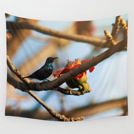SunBird on a Bombax Ceiba, also known as red silk cotton or red cotton tree. Wall Tapestry