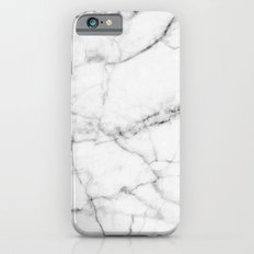 Pure White Real Marble Dark Grain All Over iPhone 6s Slim Case