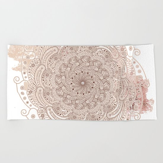 Round ornament Beach Towel