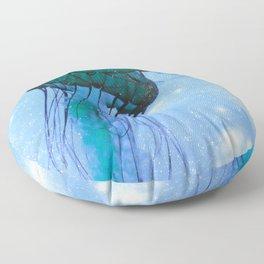 Blue Glow Jelly Fish Floor Pillow