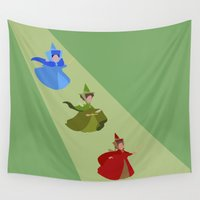 fairies Wall Tapestries featuring 3 Fairies (Green) by karla estrada