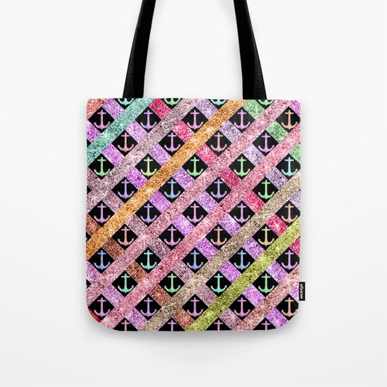 Girly Colorful Glitter Nautical Anchors Stripes Tote Bag