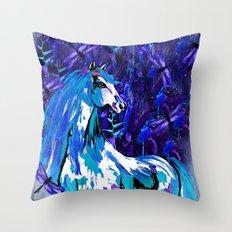 HORSE INDIGO Throw Pillow