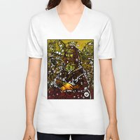 mona lisa V-neck T-shirts featuring #MONA #LISA by JOHNF