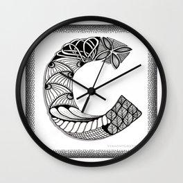 Zentangle C Monogram Alphabet Initials Wall Clock