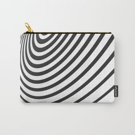 Black and White Minimal 3D Circle III Carry-All Pouch