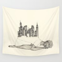 cities Wall Tapestries featuring CITIES ARE GROWING by auntikatar