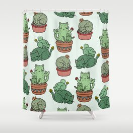 Cacti Cat pattern Shower Curtain