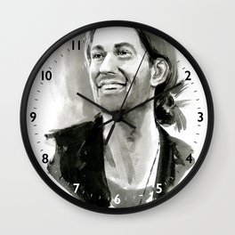 portrait of laughing man Wall Clock