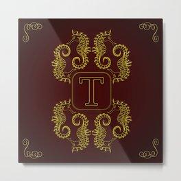 Monogram T seahorse Metal Print
