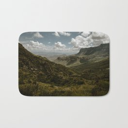 Cloudy Vibrant Mountaintop View in Big Bend - Lost Mine Trail Bath Mat