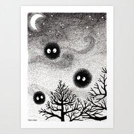 Kuro Gremlin Puffs Art Print