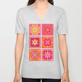 Talavera Mexican Tile – Hot Pink & Orange Palette Unisex V-Neck