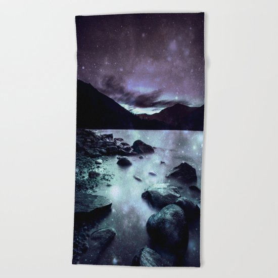 Magical Mountain Lake Aqua Lavender Beach Towel