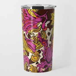 Cowsace baroque fuscia and gold design over spotted cowhide Travel Mug