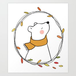 White Bear With A Scarf, Polar Bear, Leaf Frame Art Print