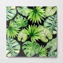 tropical leaves on black Metal Print