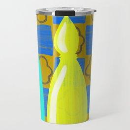 Moroccan Bottles with mustard wall Travel Mug