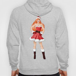 Woman Dressed In Sexy Santa Clothes For Christmas Hoody