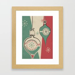 Retro Christmas Ornaments Framed Art Print