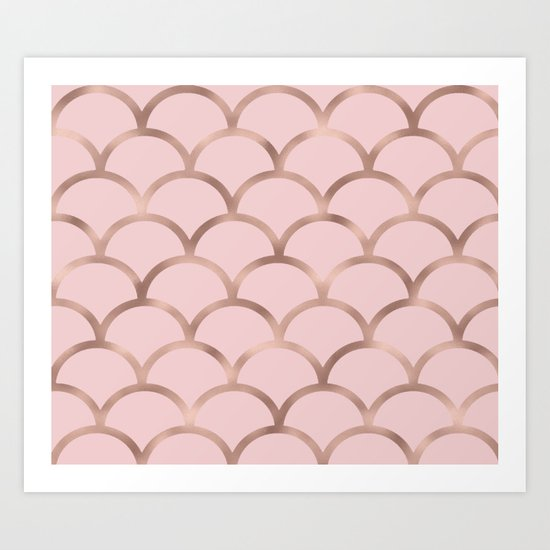 Rose gold mermaid scales Art Print by Peggie Prints | Society6