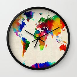 Map of the World Map Painting Wall Clock
