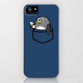 Pocket penguin enjoying ice cream iPhone Case