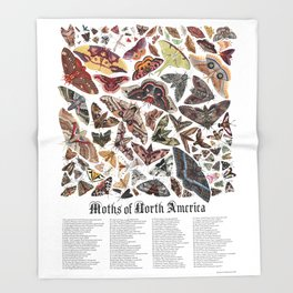 Moths of North America Throw Blanket