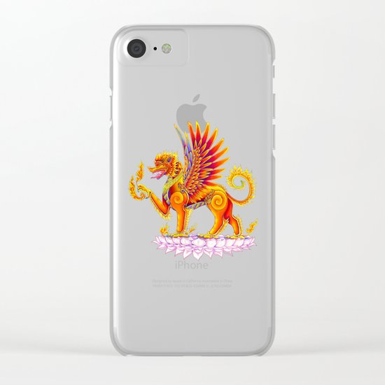 Singha Winged Lion Temple Guardian Clear iPhone Case