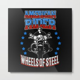 American Rider Motorcycle Biker Metal Print