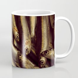 Small fish caught in the market to be sold as fresh food. Coffee Mug