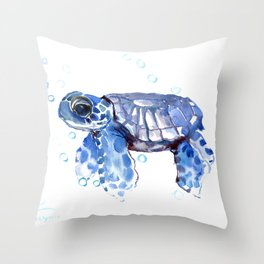 Baby Blue Turtle Throw Pillow