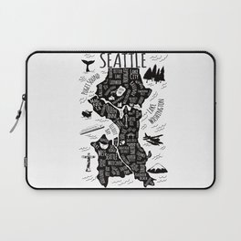Seattle Illustrated Map in Black and White - Single Print Laptop Sleeve