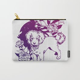 Mini Poodle with Peonies | Magenta & Purple Ombré Carry-All Pouch