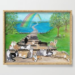 Rainbow Bridge Cats and dogs Serving Tray